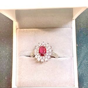 OVAL CUT RED RUBY CZ 925 SILVER HALO COCKTAIL RING